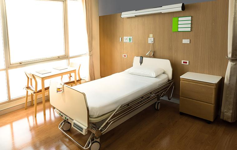 modern wooded hospital room with sunlight coming through window