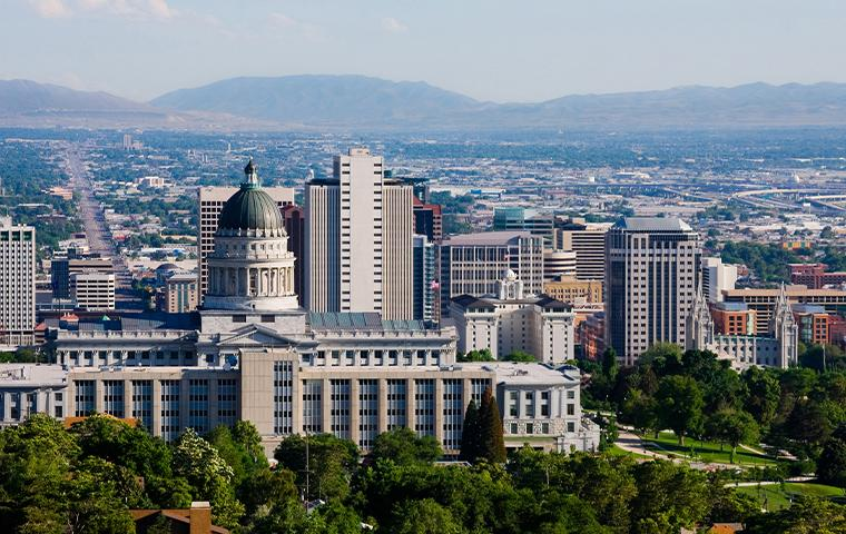 skyline view of Salt Lake city with mountain backdrop
