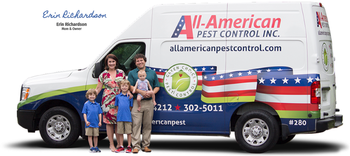 erin richardson of all-american pest control and her family
