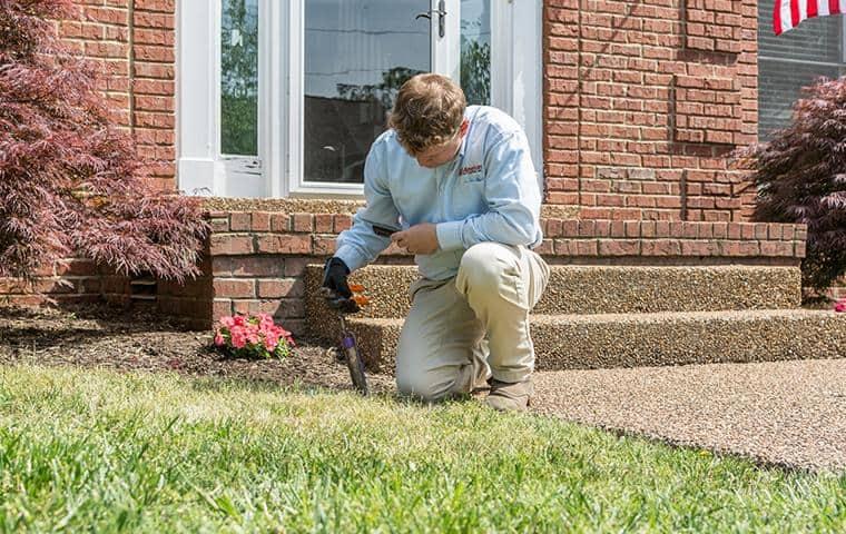 all-american termite control specialist checking sentricon station