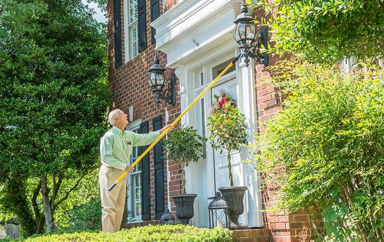 nashville pest control technician performing cobweb removal