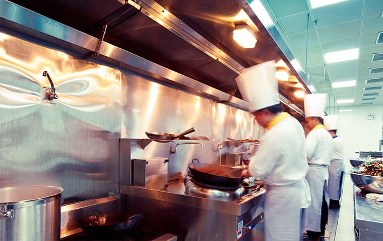 chefs working in a commercial kitchen inside of a suffolk virginia home