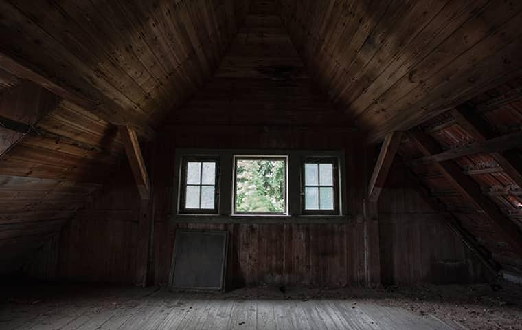an empty dusty attic