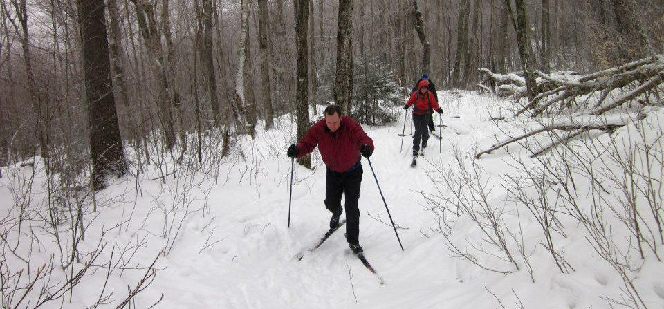 Skiing on an ungroomed section of the Catamount Trail.