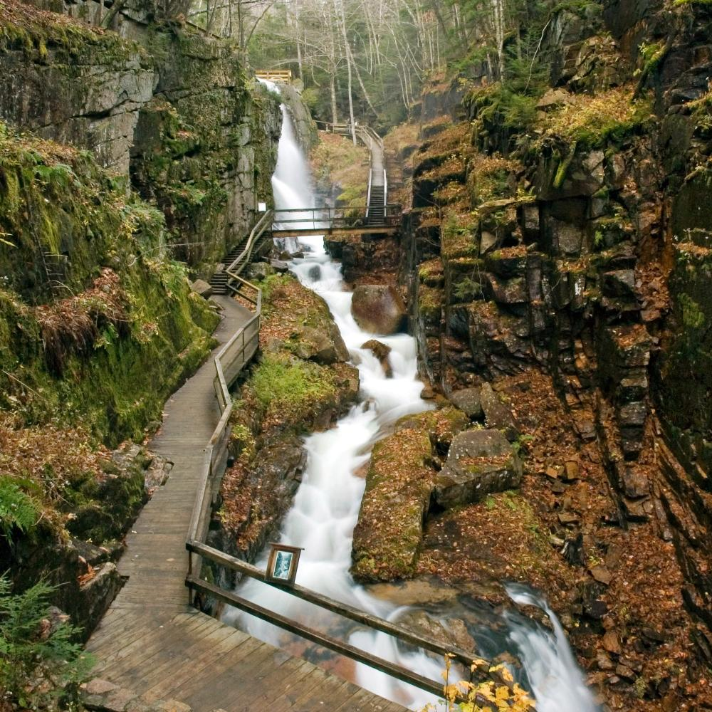 Cascading waterfall with viewing platforms