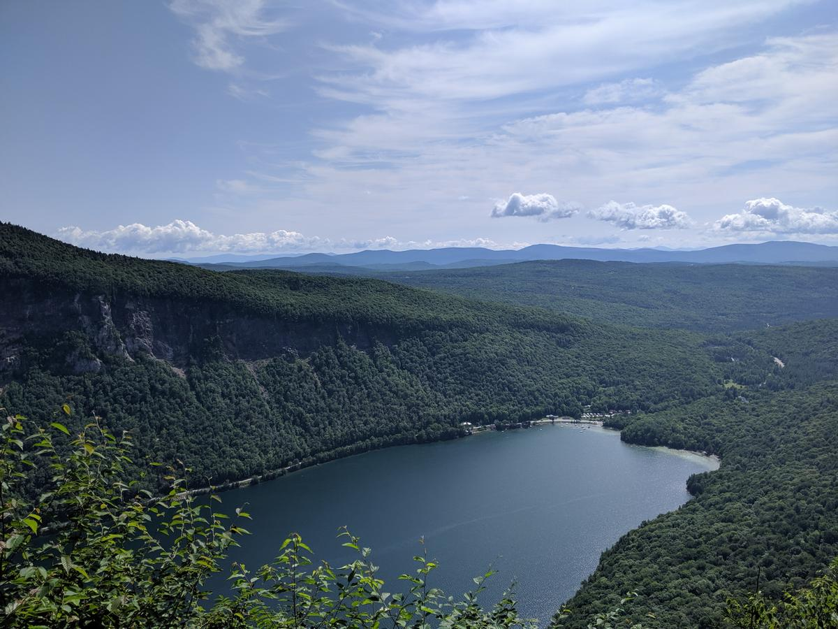 View over the south end of Lake Willoughby from the lookouts on Mount Hor