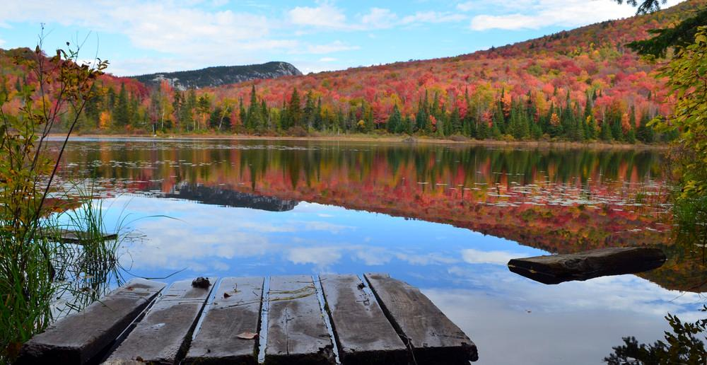 Wheeler Pond in the fall with Wheeler Mountain in the distance. Photo credit: Green Mountain Club