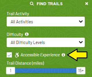 An arrow indicates where on the Find Trails page there is a checkbox for accessibility
