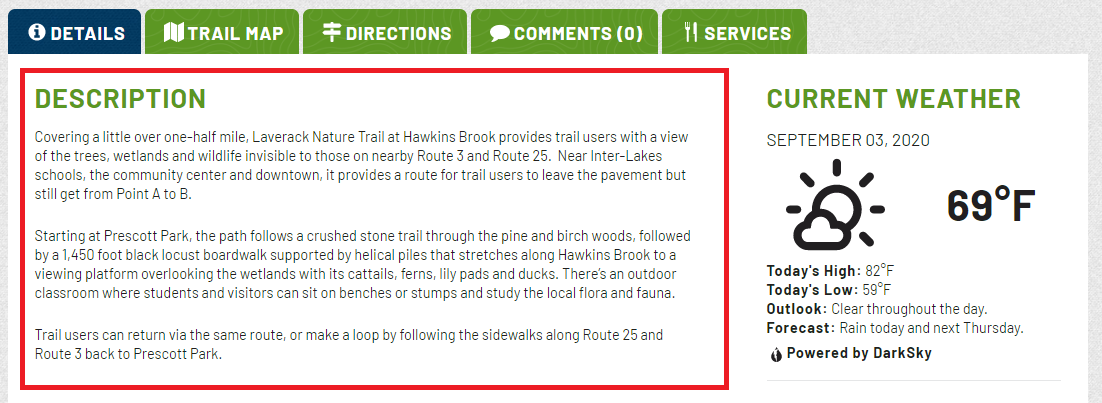 A red box encompasses the part of the Trail Finder page that describes the trails