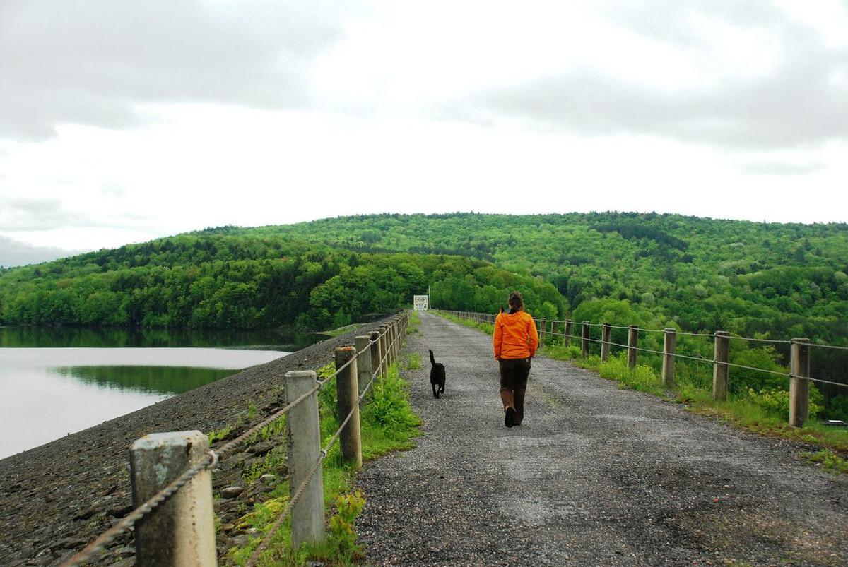 A woman and her dog walk on the gravel path atop a dam by a lake.