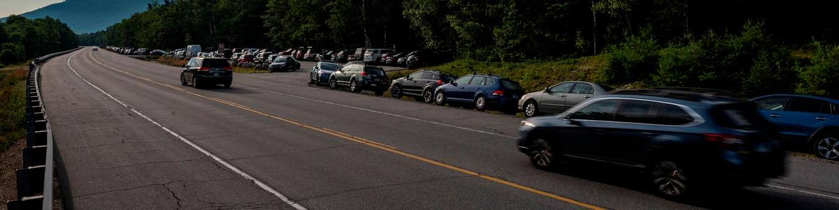 A long line of cars at Appalachia parking lot