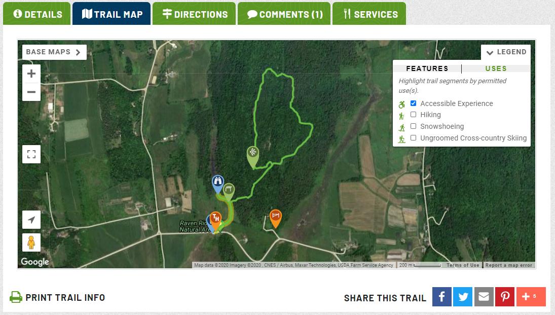 A screenshot shows a map of accessible trails and how to highlight the trail