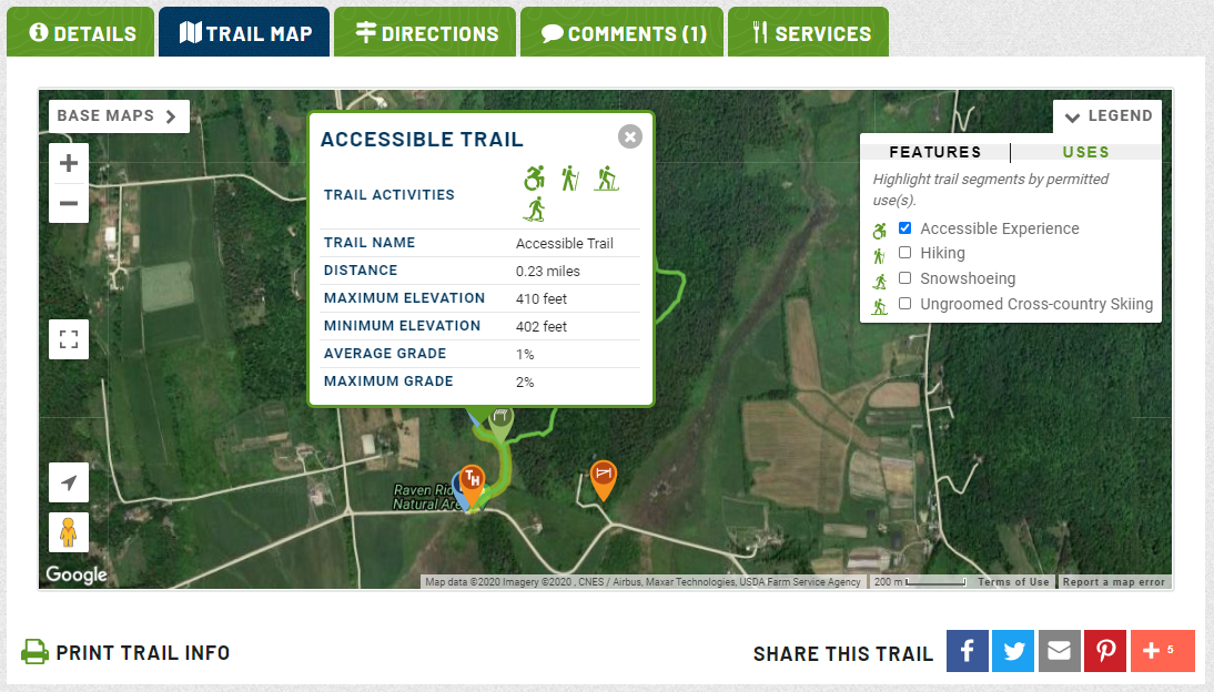 A screenshot shows a map of trails and a pop up that describes the trail