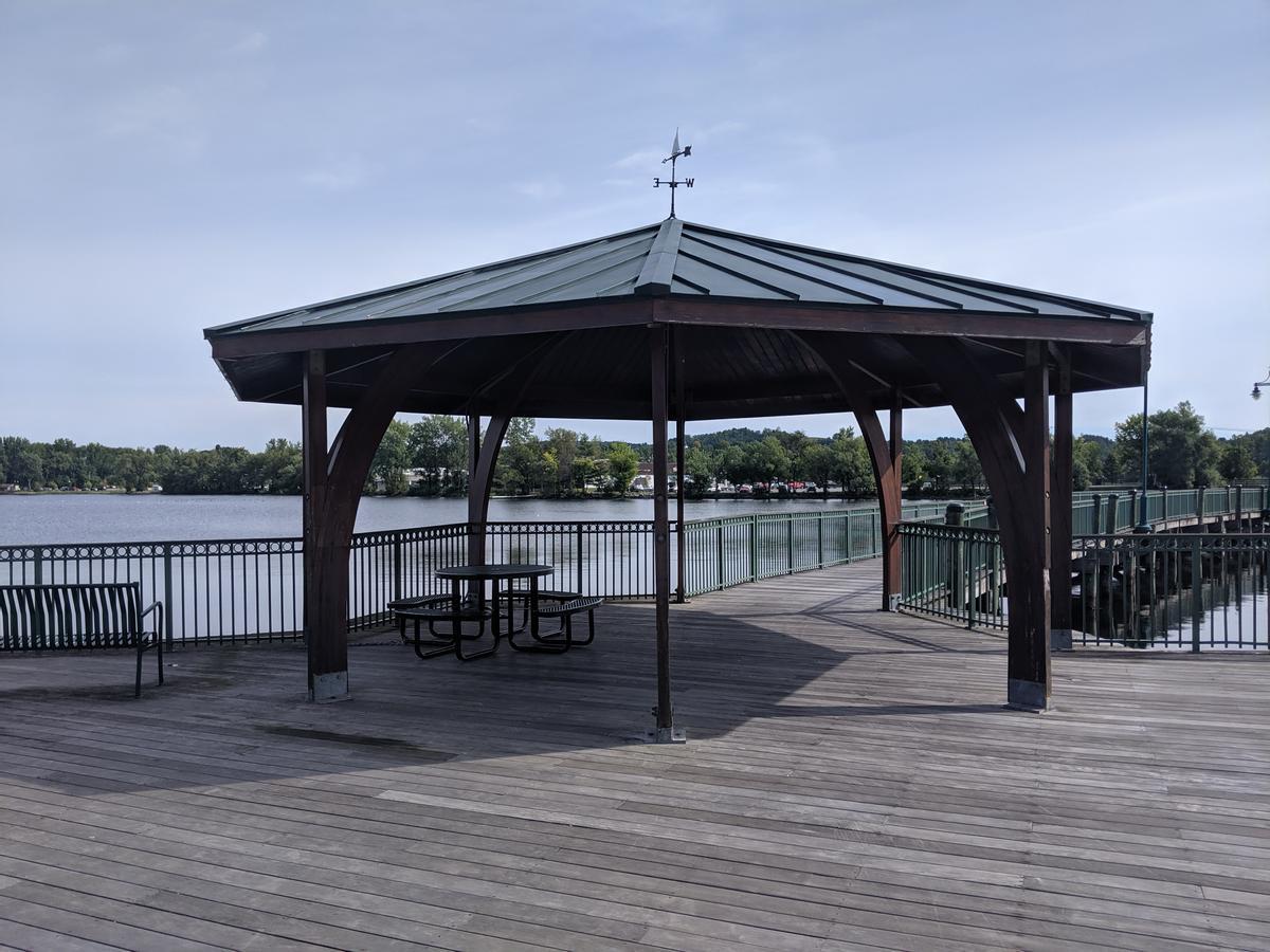 Picnic pavilion along the Newport Boardwalk.