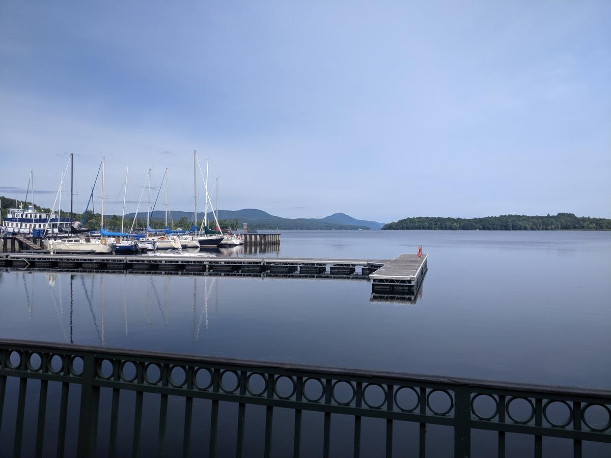 View of the Newport City docks and Lake Memphremagog from the Newport Boardwalk.