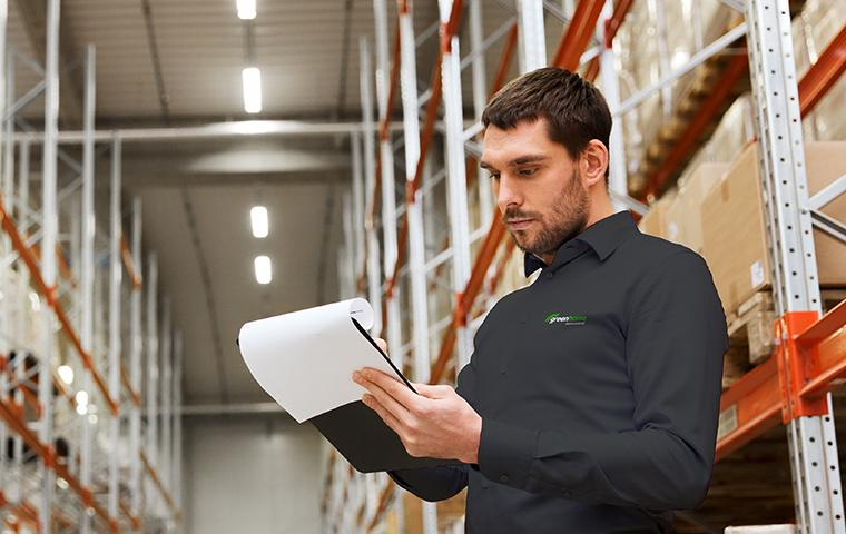 technician in a commercial warehouse