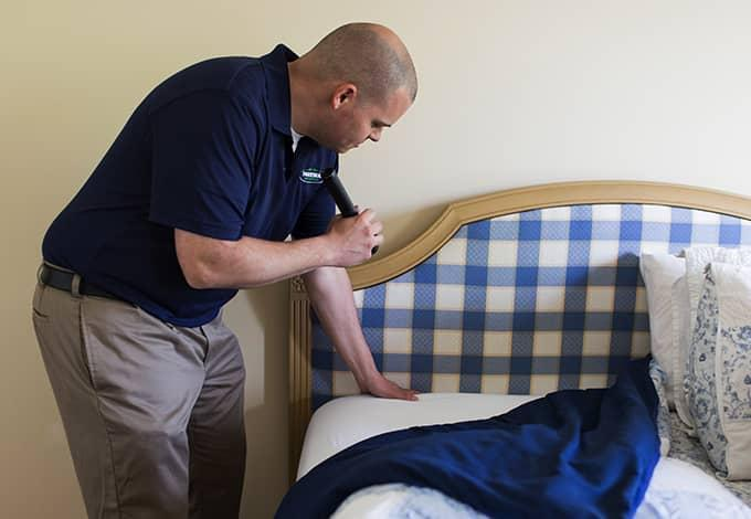 technician checking for bed bugs in pocantico hills