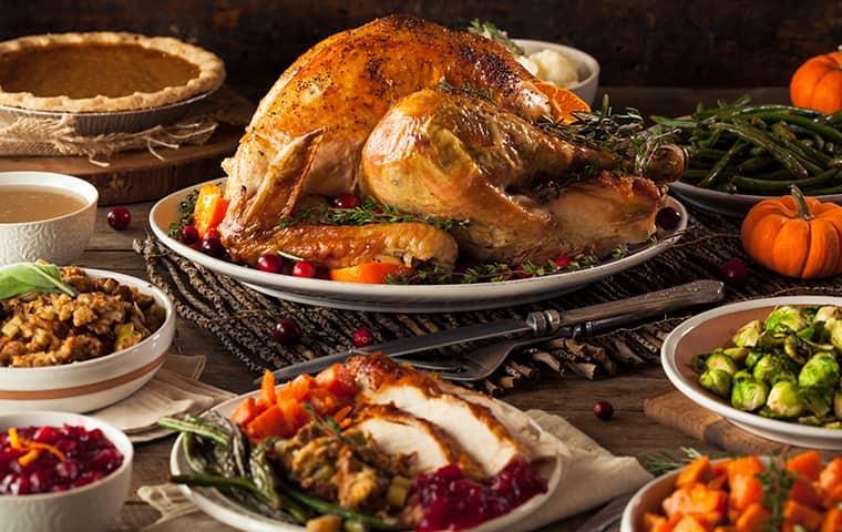nicely prepared thanksgiving dinner