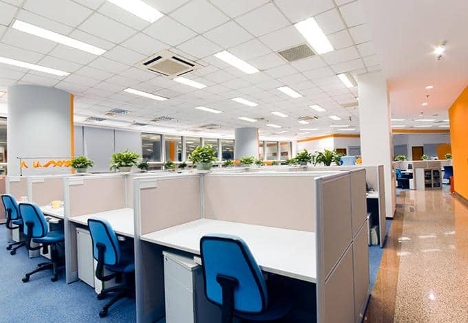the interior of a long island office without employees