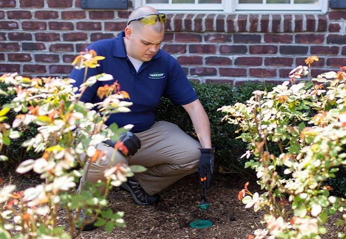 a parkway pest services technician testing for termites outside a home in farmingdale new york