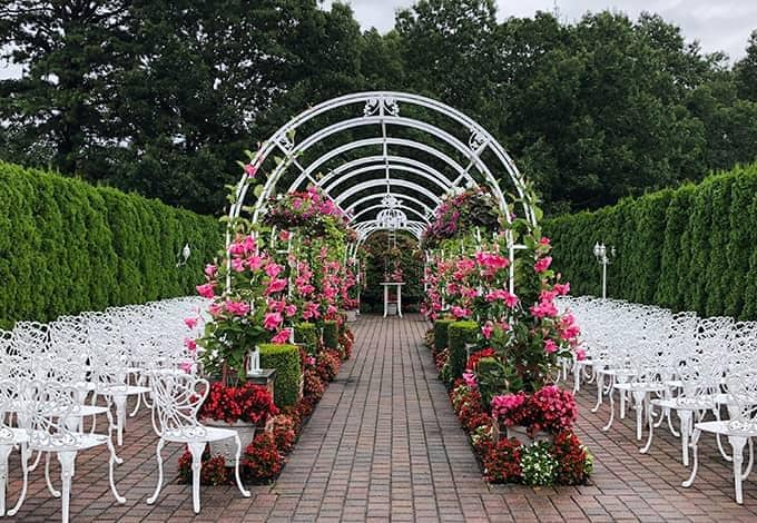 an outdoor wedding area without guests in new york