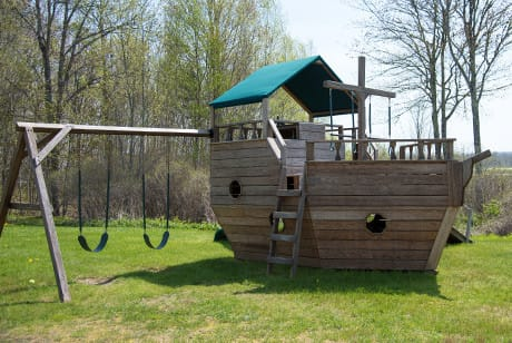 pirate ship playground at Acadia Sunrise Motel