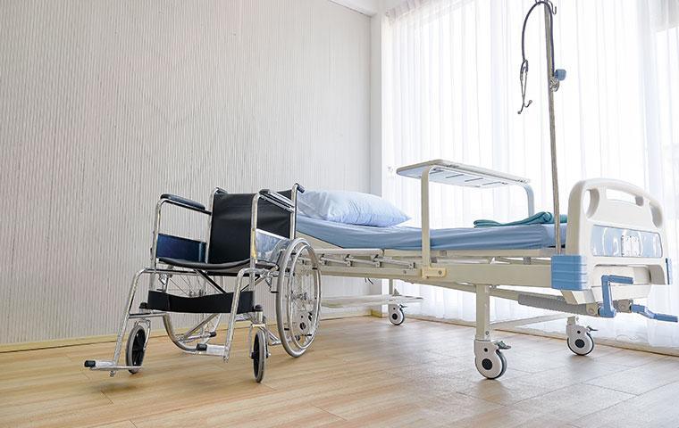 interior of an empty hospital room