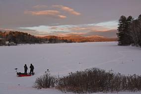 snow sunrise ice fishing wilton