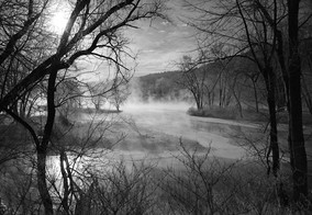 'Untitled' B&W Snow Winter Landscape Photography rivers Sunset Museum Quality