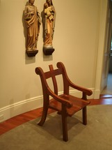 St joseph chair with statues