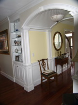 Custom designed woodwork / wainscot / and built-in cabinetry