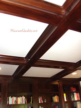 Solid mahogany coffered ceiling library bookshelves