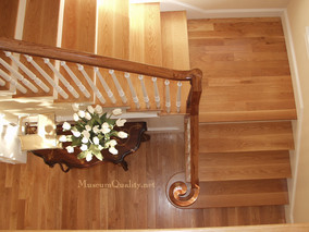 solid red oak staircase with full volute & fluted balusters & fluted posts