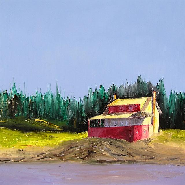 """At the Red House, 30"""" x  30"""""""