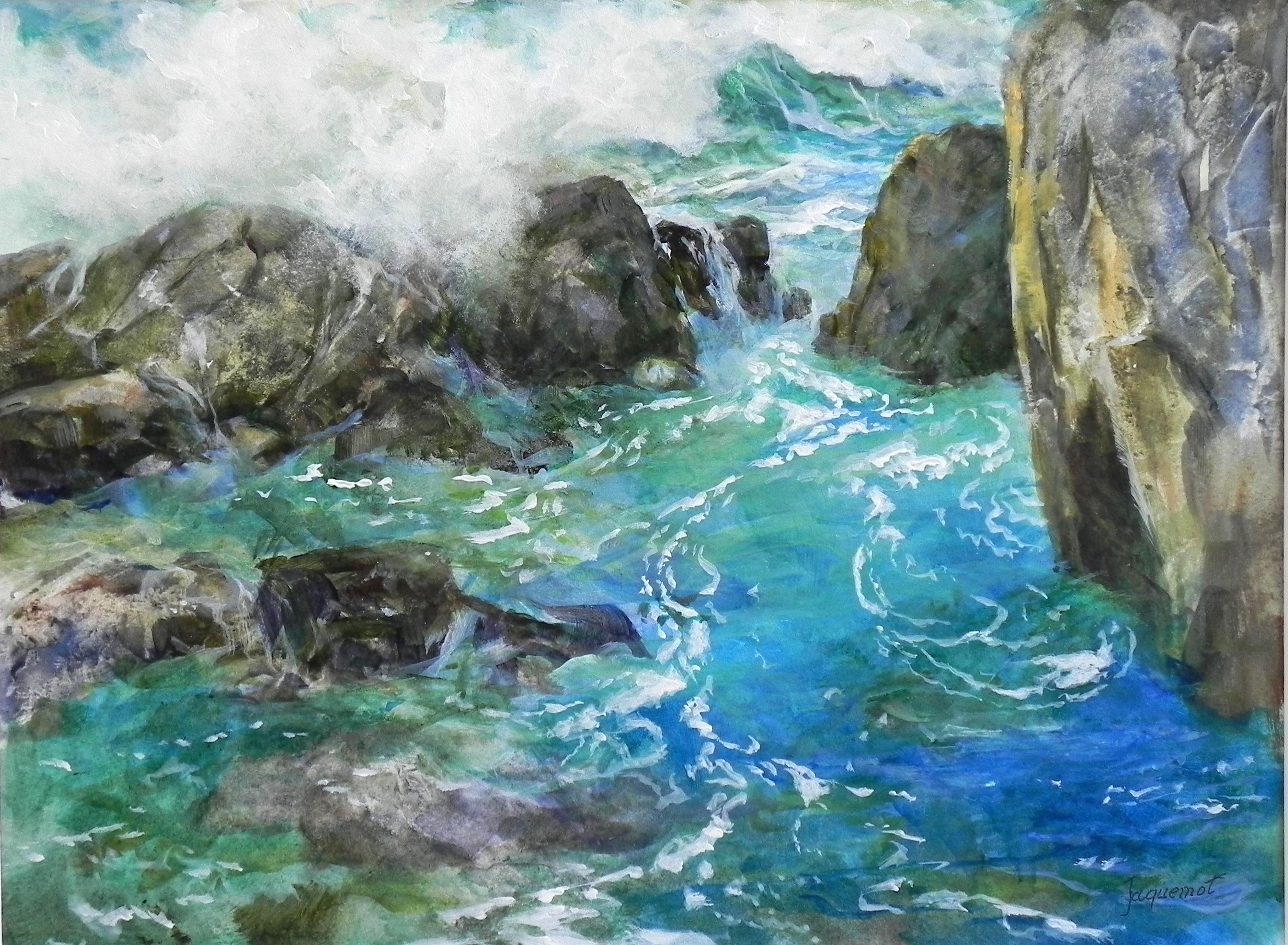 painting of waves hitting rocks in a small cove