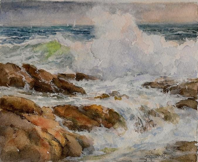 painting of waves crashing onto rocks in the summer