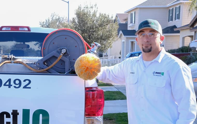 pest control technician outside of a modesto home removing spiders with a wand
