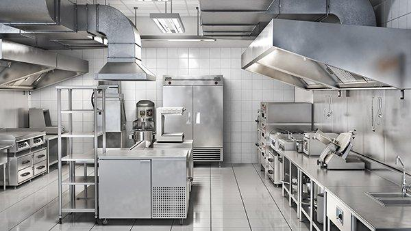 the interior of a commercial kitchen