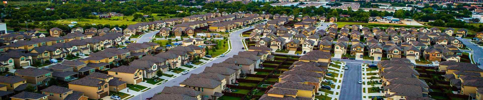 aerial view of a suburban neighborhood in corinth texas