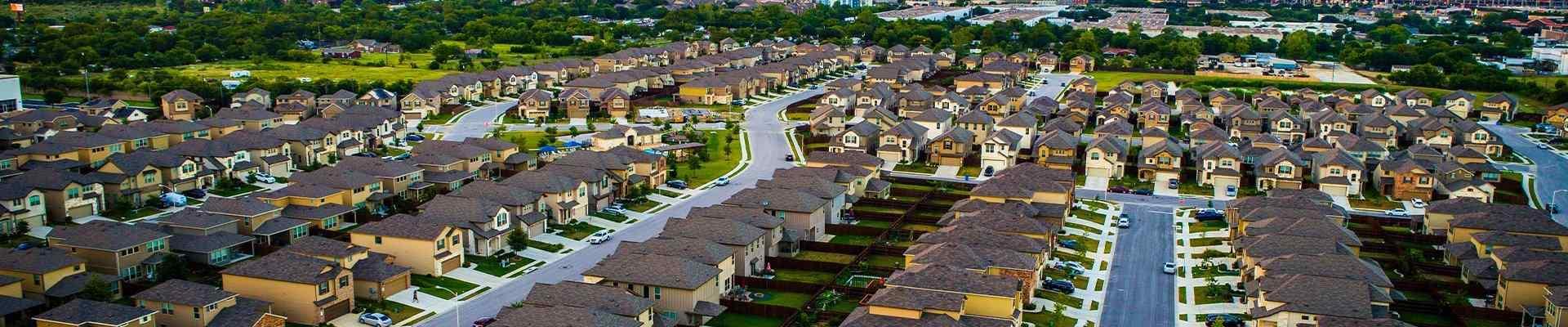 aerial view of a suburban neighborhood in corinth texas