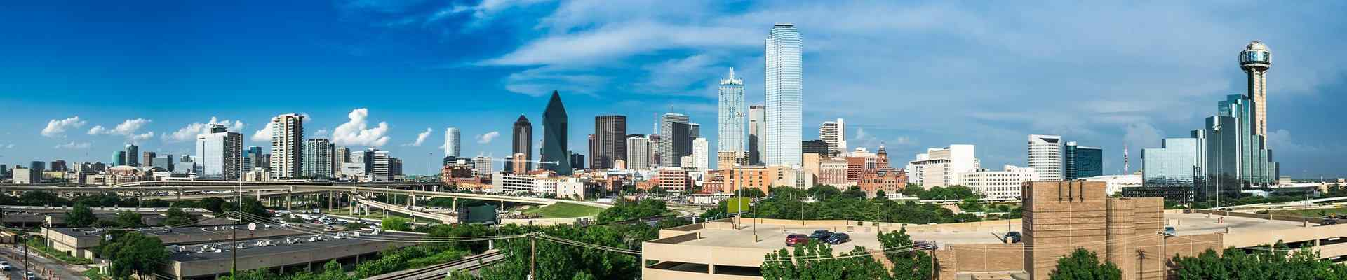skyline panorama of the city of dallas texas