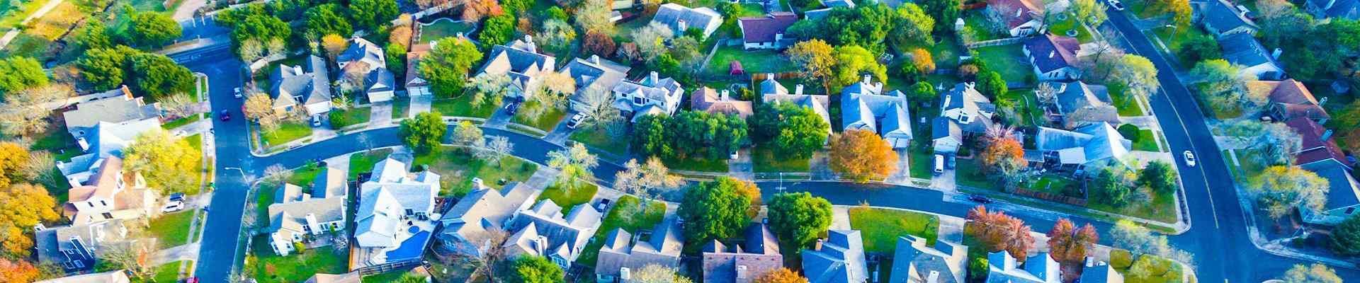 aerial view of a neighborhood in double oak texas