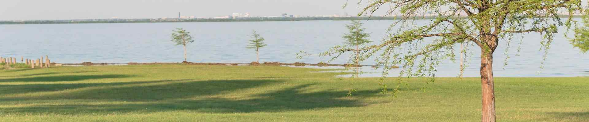 view of a lake in a park in lewisville texas