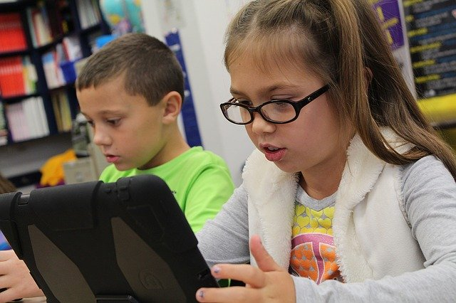 Students using technology for learning