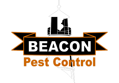 beacon pest control black background logo