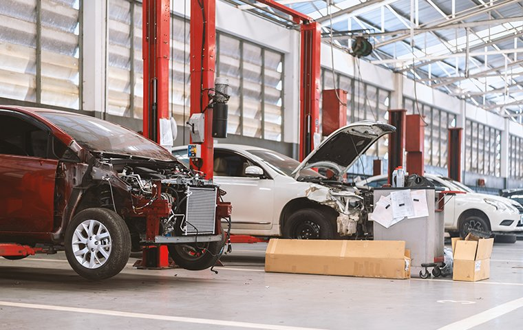 cars in an autobody shop