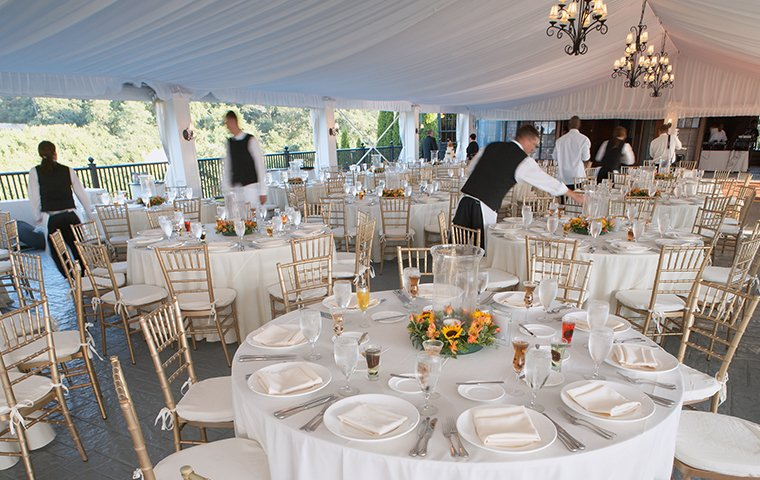 a wedding reception in an entertainment venue