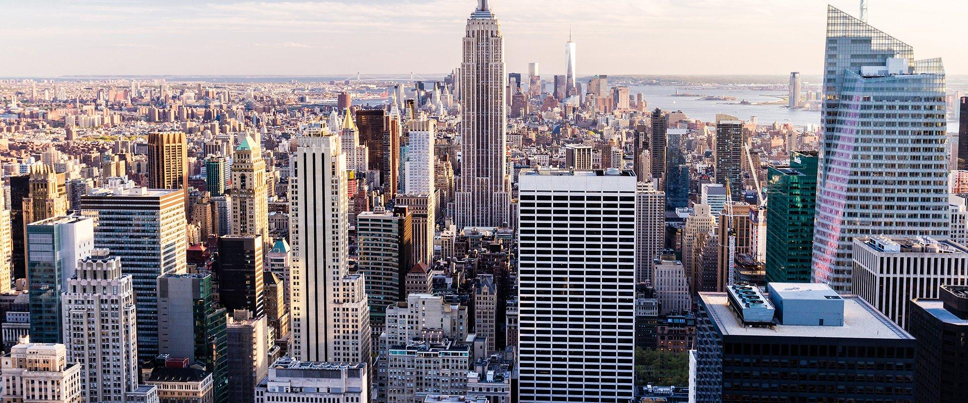 a skyline view of a new york city commercial district
