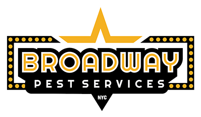 broadway pest services white logo over a transparent background